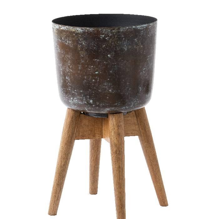 Plantenbak op standaard van  hout en 'verweerd' ijzer: Ø 21 x 38 cm