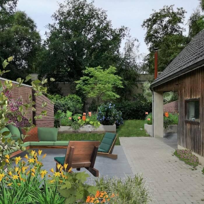 Tuinontwerp woonhuis Oisterwijk • Kleurrijk Buitenverblijf