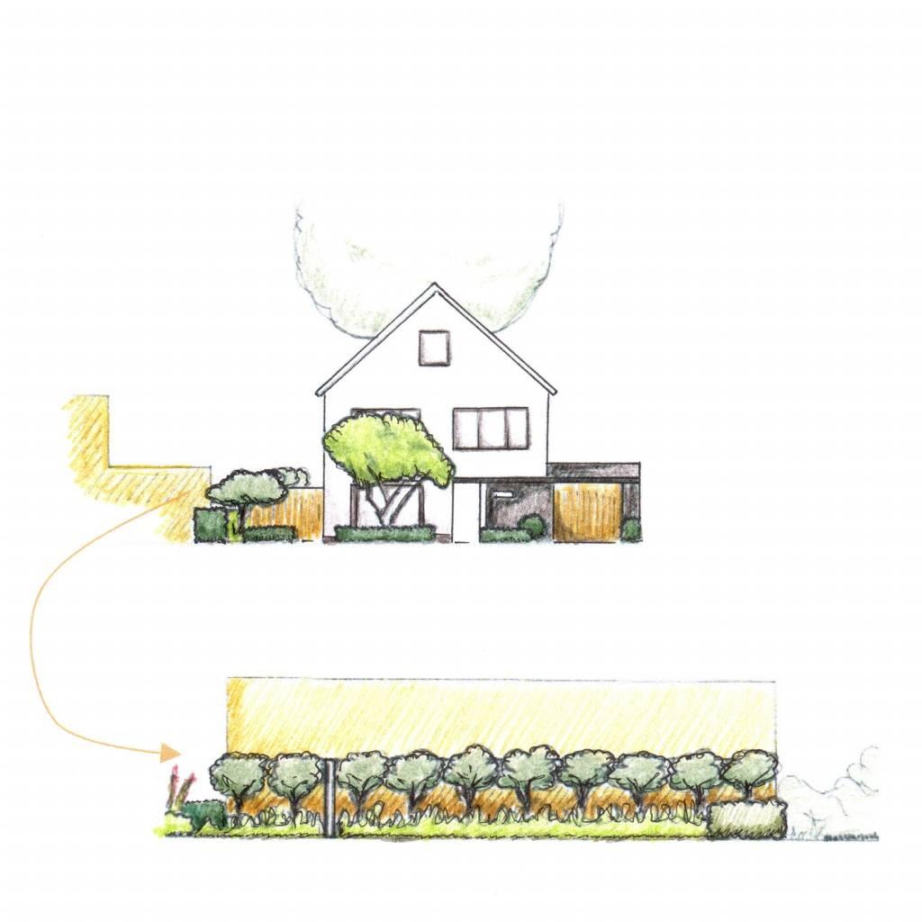 Tuinadvies woonhuis Oisterwijk • Lange Gevel
