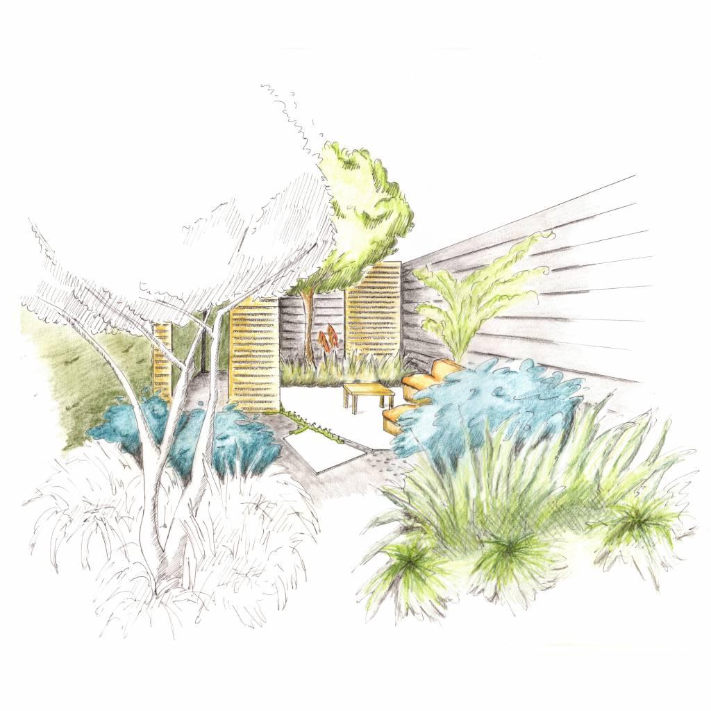 Tuinontwerp woonhuis Oisterwijk nieuwbouw KVL • Ontspannen Ruigte