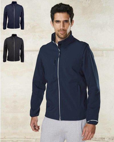 ProAct Sportieve heren softshell jas met afritsbare mouwen.