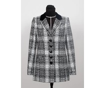 Zwart – wit tweed blazer met fluwelen kraag
