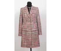 Lange tweed blazer rood/zwart