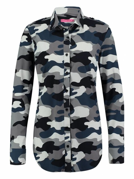 Poppy camouflage donkerblauw