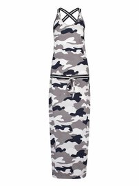 Cloud camo dress | taupe grey - dark blue