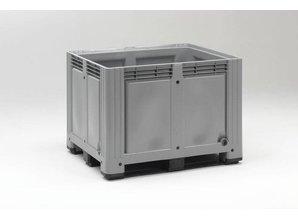 Palletbox 760 liter op 3 sleden, grijs