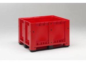 Palletbox 610 liter op 3 versterkte sleden, rood