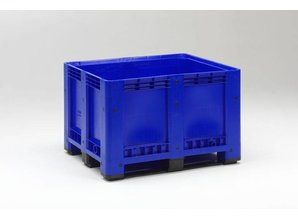Palletbox 610 liter op 3 versterkte sleden, blauw