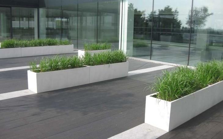 Polyester plantenbak wit