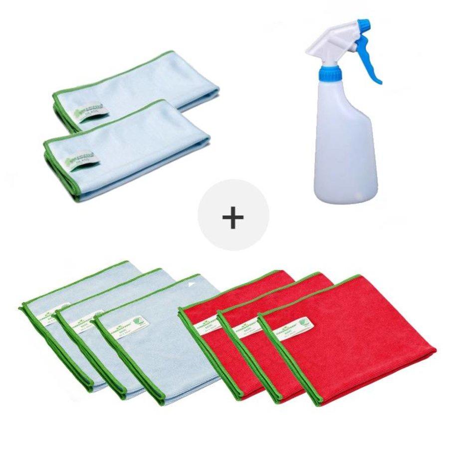 Set Microvezeldoeken ( 8 stuks Greenspeed microvezeldoeken met sprayflacon)