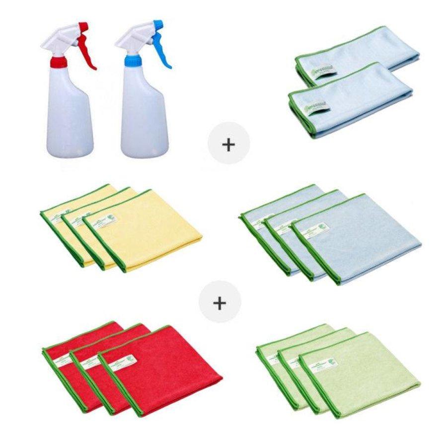 Set Microvezeldoeken (14 stuks Greenspeed microvezeldoeken en twee sprayflacons)
