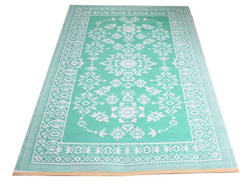 Home - Plastic kleed turquoise wit