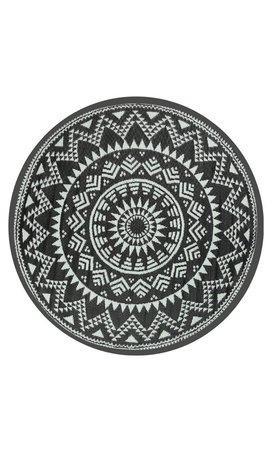 Wonder Rugs Zwart wit rond buitenkleed