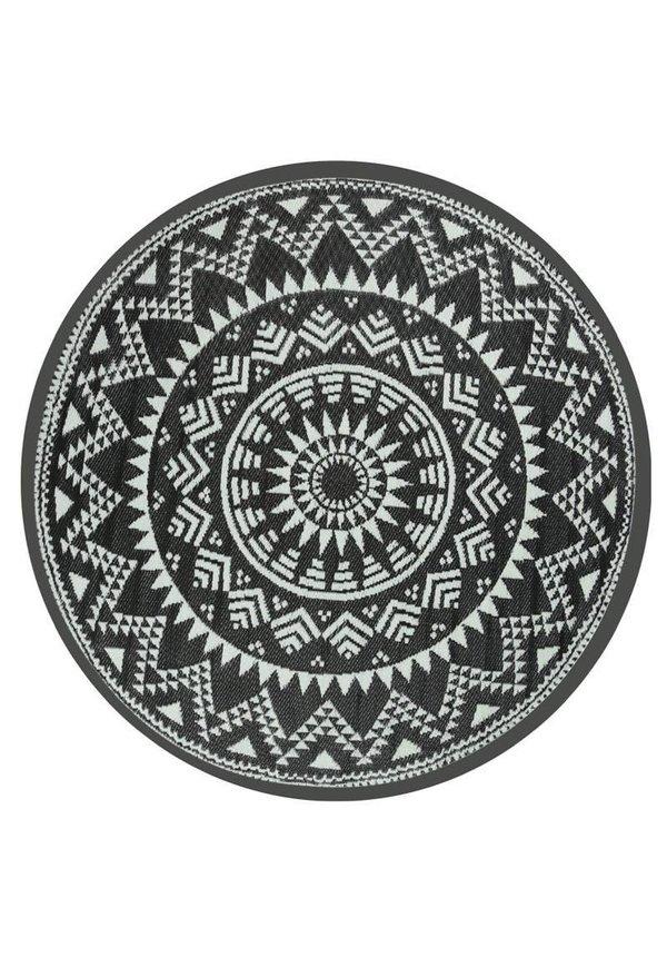 Zwart wit rond buitenkleed