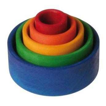 Grimms Ronde stapelbakjes van hout in diverse kleurencombinaties