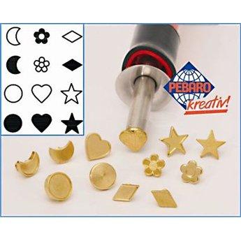 Pebaro stempelset figuren 12-delig met sterren, maan, bloemen en harten
