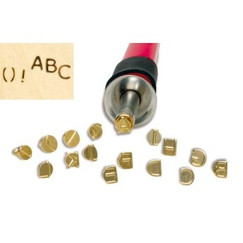 Pebaro knutselgereedschap letterstempels ABC voor hout graveren met houtbrandpen