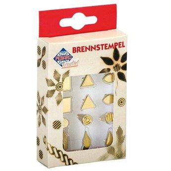 Pebaro knutselgereedschap stempelset vormen voor houtbrandpen, vierkant, driehoek, ovaal