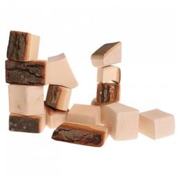 Grimms houten speelgoed Houtblokken naturel met boomschors