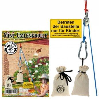 Kids at work kindergereedschap mini katrol met touw en 2 zakjes
