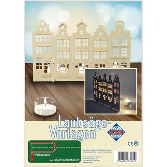 Pebaro Grachtenhuisjes figuurzagen vanaf een A4 multiplex plaat.