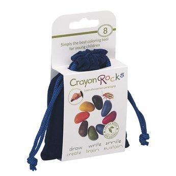 Crayon Rocks Acht kleurkrijtjes in primaire kleuren in een blauw fluwelen zakje