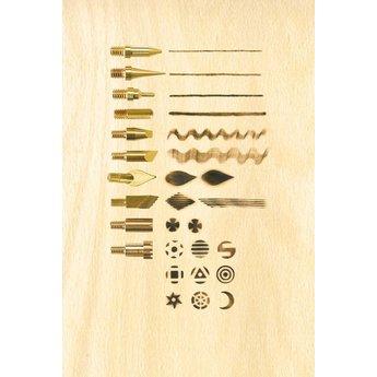 Pebaro Uitgebreide set met houtbrandpen en diverse stempels