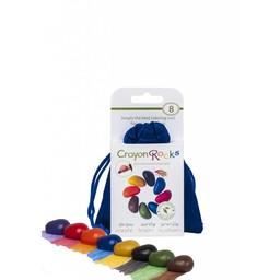 Crayon Rocks Crayon Rocks - 8 krijtjes in een blauw fluwelen zakje