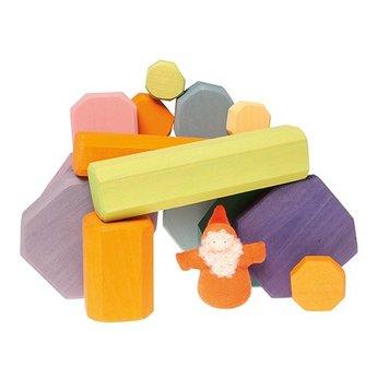 Grimms Houten blokken in pastel kleuren om eindeloos mee te bouwen