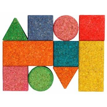 KorXX Tien (10) bouwblokken van gekleurd kurk speciaal voor baby's