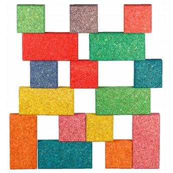 KORXX Negentien (19) gekleurde bouwblokken van kurk in de starter set