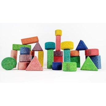 KORXX Achtentwintig (28) gekleurde bouwblokken van kurk