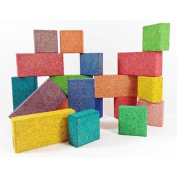 KORXX kurk blokken Cuboid C Mix edu - 38 gekleurde blokken
