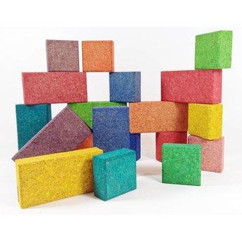 KORXX Achtendertig (38) gekleurde bouwblokken van kurk