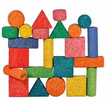 KORXX kurk blokken Zesenvijftig (56) verschillende kleuren en vormen kurk blokken