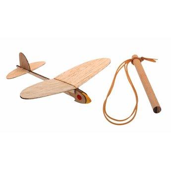 Kids at work kindergereedschap Vliegtuig katapult, uit natuurlijk hout, zelfbouwpakket één