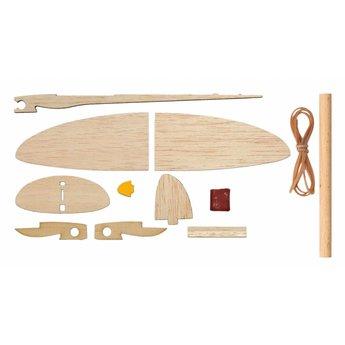 Kids at work Vliegtuig katapult, uit natuurlijk hout, zelfbouwpakket drie