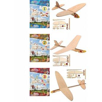 Kids at work Vliegtuig katapult, uit natuurlijk hout, zelfbouwpakket één