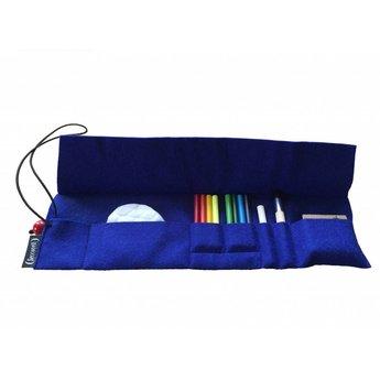Seccorell tekenmateriaal Seccorell blauw uitklapbaar vilten etui met basisset