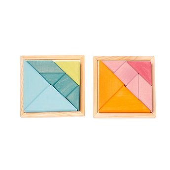 Grimms houten speelgoed Creatieve set tangram met voorbeeldboekje