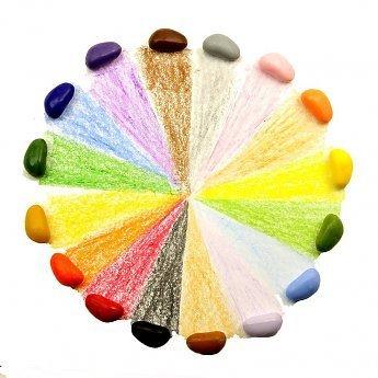Crayon Rocks Rood fluwelen zakje met 16 ecologische krijtjes in zestien kleuren