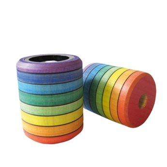 Mader houten tollen Kaleidoscoop, handgeverfd in regenboogkleuren