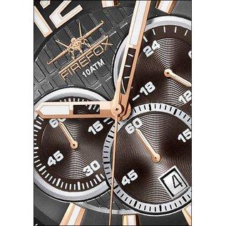 Firefox Watches  Firefox GADGET High-grade steel chronograph, black/rose gold plated