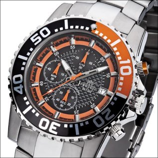 Firefox Watches  ZION Chronograph Herrenuhr Armbanduhr schwarz/orange