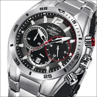 Firefox Watches  FIREFOX Skywolf Stainless Steel Chronograph 10 ATM / black and red, FFS200-102b