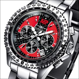 Firefox Watches  RACER Stainless Steel Chronograph 10 ATM / black and red