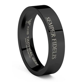 KHS Tactical Watches Tungsten Carbide Rings Black | US Marine Corps