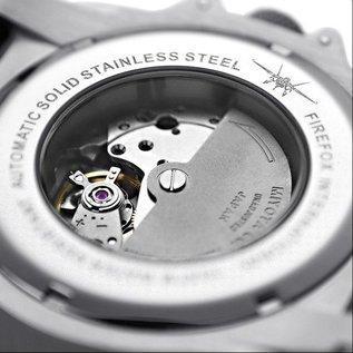 Firefox Watches  Automatik Sportuhr Herrenuhr schwarz-silber Kaliber 8215