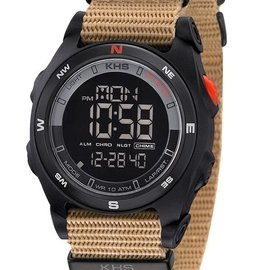 KHS Tactical Watches Sentinel DC Black Alarm Chronograph Nato TAN