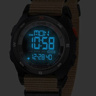 KHS Tactical Watches Sentinel DC Black- Digital Alarm Chronograph mit Digital Compass